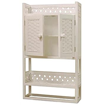 Beau Cottage Solid Wood And Wicker Bathroom Wall Shelf Or Medicine Cabinet  (WHITE STAIN)