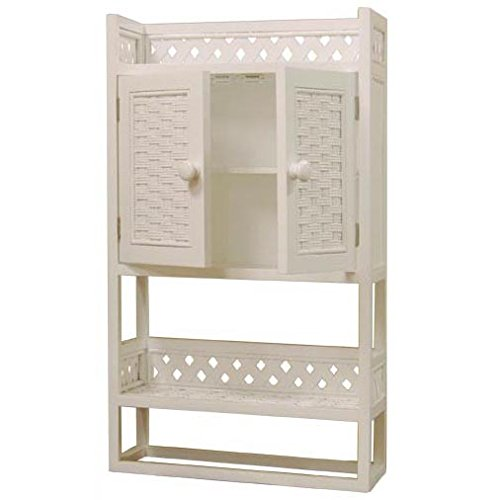 Merveilleux Amazon.com: Cottage Solid Wood And Wicker Bathroom Wall Shelf Or Medicine  Cabinet (WHITE STAIN): Home U0026 Kitchen