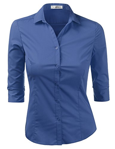 - Doublju Womens Slim Fit Cotton 3/4 Sleeve Button Front Shirt Top RoyalBlue Large