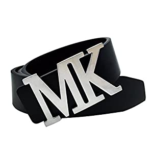 Maikun Mens Leather Dress Belt with Detachable MK Letter Buckle Silver for Waist Size 32-34""