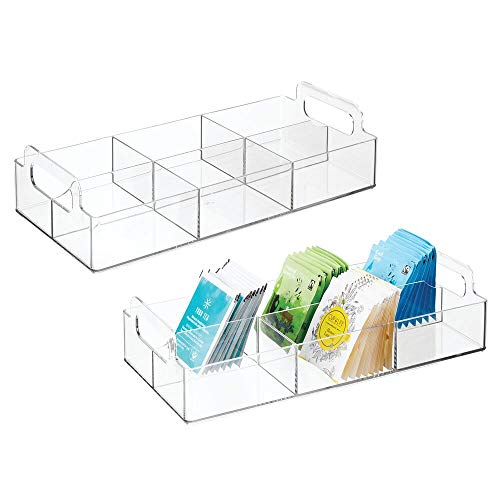 (mDesign Compact Plastic Tea Storage Organizer Caddy Tote Bin - 6 Divided Sections, Built-in Handles - Holder for Tea Bags, Packets, Sweeteners and Small Packets - 2 Pack - Clear)