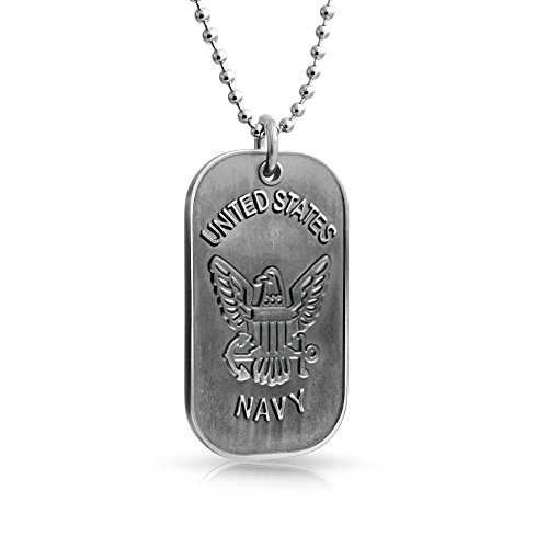 Bling Jewelry Mens USA Navy Dog Tag Pendant Stainless Steel Necklace 20 Inches (Navy Tag Dog)
