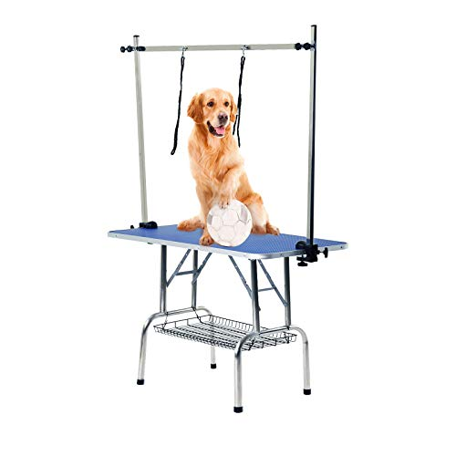 SUNCOO 48' Large Folding Professional Heavy Duty Pet Dog Cat Grooming Table for Small Medium Large Dog with Adjustable Arm, Stainless Leg,Extra Holders