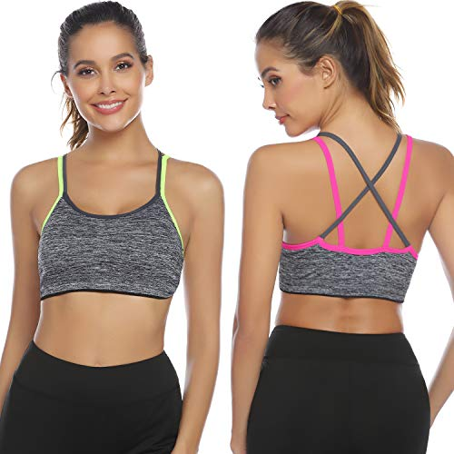 - Hawiton Women's 2 Pack Low Impact Sports Bra Yoga Tops for Workout Fitness Gym Activewear