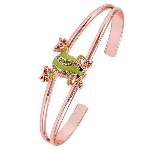 MANZHNE Crystal Frog Double Cuff Bangle Bracelet for Women (rose gold)