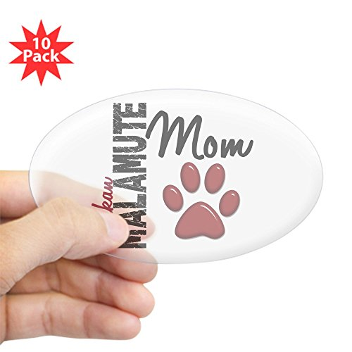 CafePress - Alaskan Malamute Mom 2 - Oval Sticker (10-Pack), Bumper Sticker, Car Decal, Euro Oval