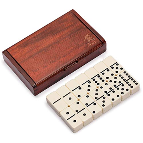 Yellow Mountain Imports 28 Tiles Double 6 Dominoes (Pips/Dots) Game Set with Dark Oak Wood Case