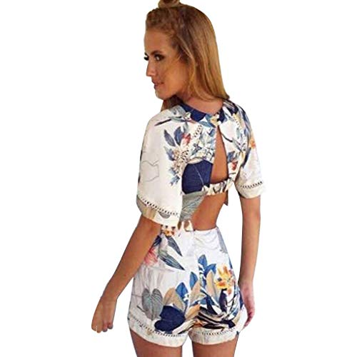(Women's 2 Piece Outfit Summer Striped V Neck Crop Cami Top with Shorts Boho Floral Print Backless Playsuit Beachwear Khaki)