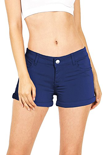 Celebrity Pink Women's Juniors Casual Cuffed Design Shorts (9, Navy) by Celebrity Pink