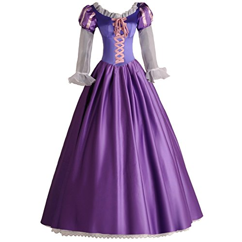 Angelaicos Womens Princess Costume Party Long Purple Victorian Dress -