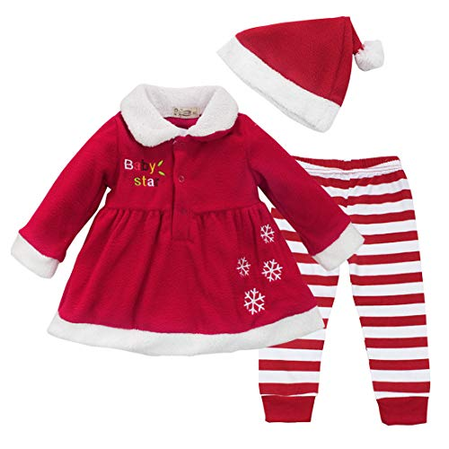 ranrann Toddlers Baby Girls Christmas Cosplay Baby Star Letter Pattern Dress Tops with Striped Pants and Hat Outfits Set Red 18-24Months -