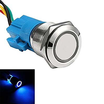 ESUPPORT Stainless Steel 19mm 12V 5A Car Blue Light Angel Eye Metal Push Button Switch Socket: Automotive