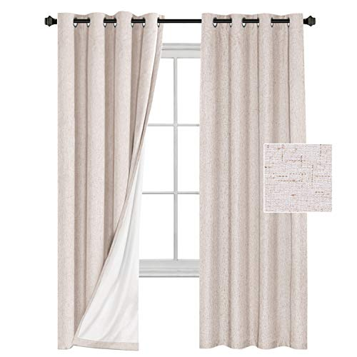 H.VERSAILTEX Window Treatment Grommet Linen Like Primitive 100% Blackout Curtains Waterproof Thermal Insulated Natural Curtains White Backing (2 Panels Set), W52 x L84- Inch
