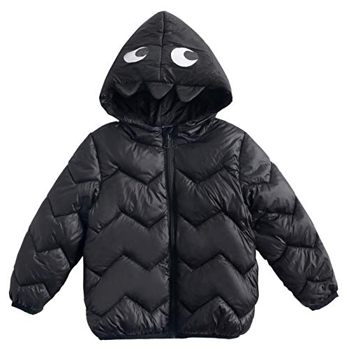 Happy Cherry Baby Boys Cotton Coat Hooded Print Jacket Puffer Down Outerwear Zip Front Winter Outwear Lightweight Windproof Coat Cartoon Warm Clothes Black 3t -