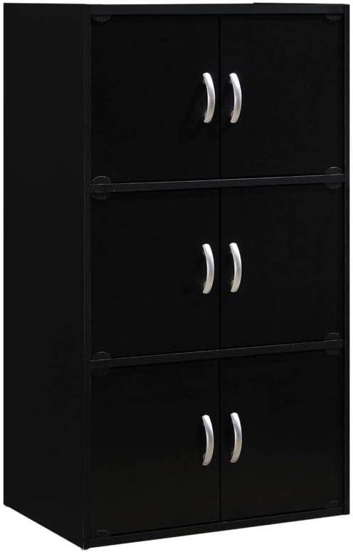 Hodedah 6 Door Bookcase cabinet, Black