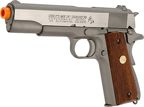 Palco Sports Airsoft - Model 180529 Colt 1911 Mkiv Series 70 Co2 Full Metal Blowback- Silver/Brown Grip, Silver