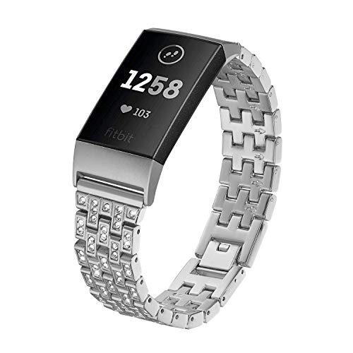 Kuxiu Bling Metal Bands Compatible Fitbit Charge 3/ Charge 3 SE, Replacement Accessories Wristband Bracelet with Rhinestone for Women Men (Metal Silver)