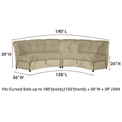 SunPatio Curved Sofa Cover, Extremely Lightweight, Water Resistant, Eco-Friendly, Helpful Air Vents
