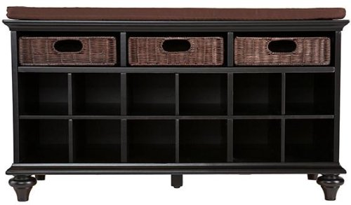 Southern Enterprises Chelmsford Entryway Shoe Storage Bench, Black - Domain Macy