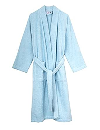 TowelSelections Turkish Cotton Bathrobe Terry Kimono Robe for Women and Men X-Small/Small Aquamarine
