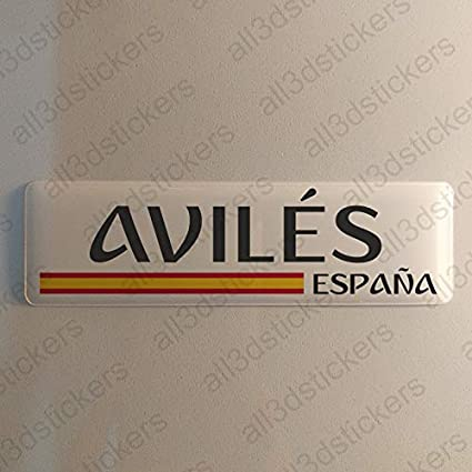 Pegatina Aviles España Resina, Pegatina Relieve 3D Bandera Aviles ...