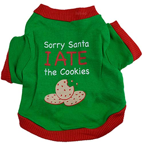 Duseedik Pet Shirt, Christmas Puppy Dog Clothes Christmas Cookies Interlock Green -