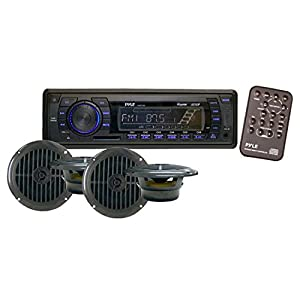 Pyle Sea Stereo Receiver & Speaker Kit | Weather Band AM/FM Radio Headunit | (4) Waterproof 6.5'' Speakers | MP3/USB/SD/AUX | Single DIN | 4 x 50 Watt (PLMRKT14BK)