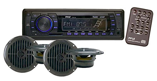 Specs 1500 Chevy - Marine Headunit Receiver Speaker Kit - In-Dash LCD Digital Stereo w/ AM FM Radio System 6.5'' Waterproof Cone Speakers (4) MP3/USB/SD Readers Aux Input Single DIN & Remote Control - Pyle PLMRKT14BK