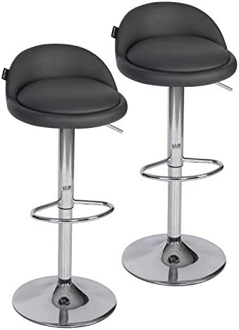 Fullwatt 2 PCS Adjustable Stool PU Leather Adjustable Barstools Chairs Adjustable Swivel Bar Stool