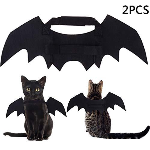 (LOCOLO 2 Pack Christmas Pet Bat Wings, Pet Cat Dog Bat Costumes Black, Christmas Pets Costume for Cats)