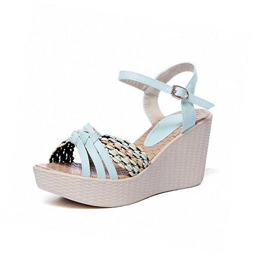 Amoonyfashion Kvinna Höga Klackar Mjukt Material Diverse Färg Spänne Öppna Sandaletter Blå