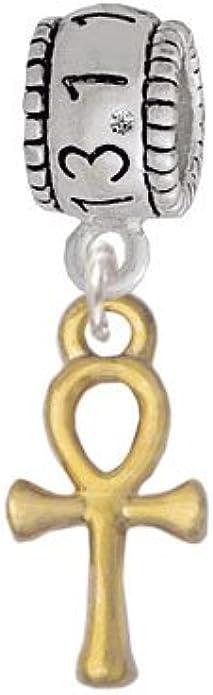Delight Jewelry Small Ankh Half Marathon 13.1 Run Charm Bead