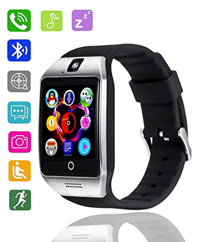 Bluetooth Smart Watch, DMDG Touch Screen Smart Wrist Watch Unlocked Cell Phone Smartwatches for Android & iOS (Partial Functions) (Silver)