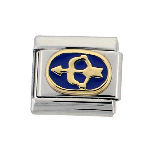 Zodiac Sign Italian Bracelet Charm - Stainless Steel 18k Gold Sagittarius Zodiac Sign Charm for Italian Charm Bracelets