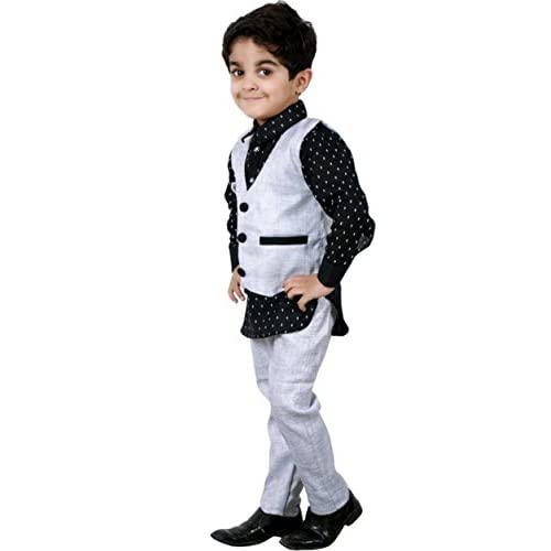 41SdNSGJ2DL. SS500  - AHHAAAA Boy's Cotton Waistcoat Shirt and Pant Set for Kids