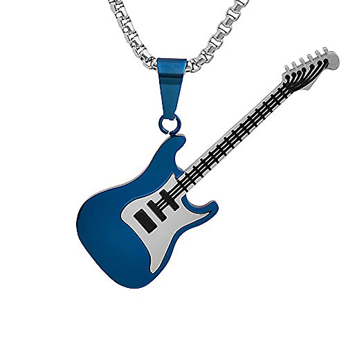 (Magna Steel Men's Stainless Steel Rock Electric Guitar Bass Pendant Necklace with 24