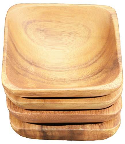 Pacific Merchants Trading Acaciaware Square Sauce Bowls, 4 x 4 x 1.5, Set of 4