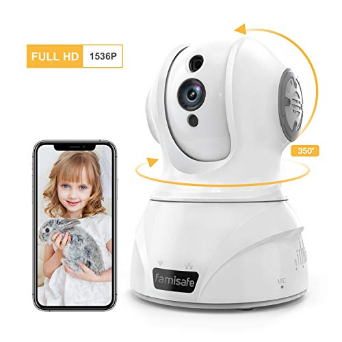 Famisafe Wireless 3MP Security Camera, 360° Rotation WiFi Home Surveillance IP Camera for Baby/Elder/Pet Monitor Pan/Tilt/Zoom Two-Way Audio & Night Vision Works with Alexa (for Android & iOS) - white (3 Mp Camera Phone)