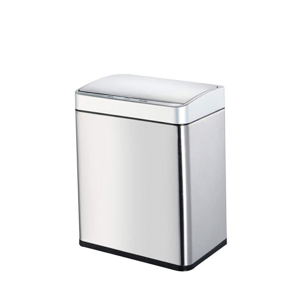 QFQ Mülleimer Japanisch Wohnzimmer Küche Badezimmer Edelstahl Rechteckige Mülleimer Automatische Sensor Kontakt Mülleimer Farbe : Silber, größe : 8L