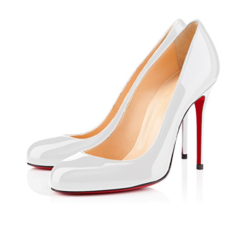 Work Pumps white Round Slip Patent Place Dress Sandals Heel Stiletto Toe Pumps yBeauty High Women's On Shoes for A Heels qtXZZU
