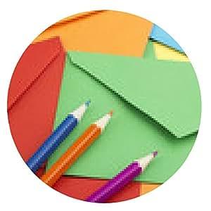 alfombrilla de ratón sobres de colores y lápices - ronda - 20cm