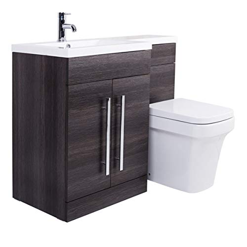 Delicieux Aquariss Grey LH Combination Bathroom Furniture Vanity Unit U0026 Basin + Back  To Wall Toilet: Amazon.co.uk: Kitchen U0026 Home