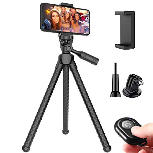 Phone Tripod, Pocut Portable and Adjustable Flexible Tripods Camera Stand Holder with Wireless Remote and Universal…