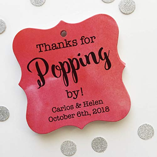 Thanks for Popping by! Personalized Printed Texture Wedding/Event/Celebration Favor Tags (FS-370-T)