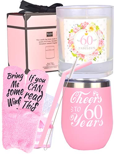 60th Happy Birthday Gift for Women, 60th Soy Candle Gift Box for Her, 60th Birthday Cup, 60 and Fabulous, 60th Birthday Gift for Woman, I'm 60, Best Turning 60 Year Old Birthday Gift Ideas for Wife, M (Mom Birthday Present For 60th)