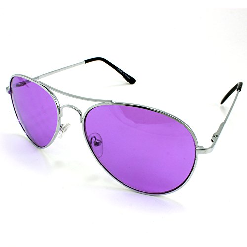 Enimay Mens The Hangover Bradley Cooper Colored Aviator Poker Sunglasses - Dark Purple Glasses