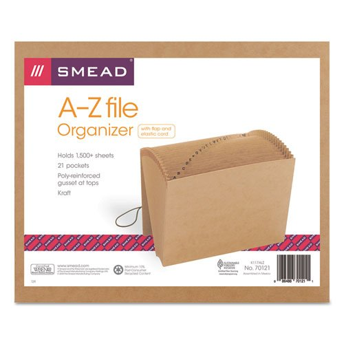 Smead Products - Smead - A-Z Indexed Expanding Files, 21 Pockets, Kraft, Letter, Brown - Sold As 1 Each - Heavy-duty Kraft file features a preprinted index for easy organization. - Reinforced liners on the front and back panels for added durability. - Full-height gussets, poly tape reinforced at top. - 7/8