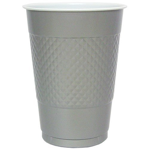 Hanna K. Signature Collection 50 Count Plastic Cup, 18-Ounce, Silver