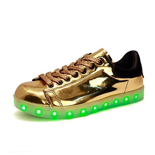 Santimon Mannen Vrouwen Unisex Usb Oplader 7 Kleuren Led Light Up Veterschoenen Sport Trainer Schoenen Sneaker Koppels Schoenen Goud