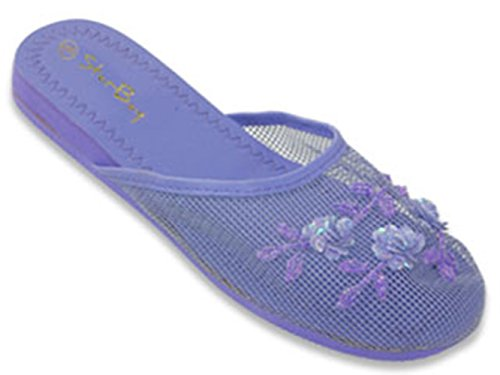 Beaded Mesh Slippers - G4U-BK S-3708 Women's Mesh Slipper Sequin Floral Beaded House Flip Flops (9 B(M) US, Purple)